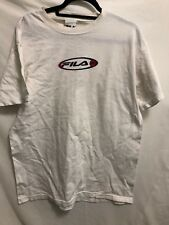 VINTAGE Fila Shirt Adult Extra Large White Blue Spell Out  Made USA Mens 90s