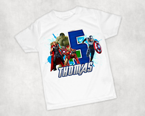 Kids Personalised Avengers Printed Birthday T-shirt Any Name and Number Birthday