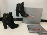 PRADA BRAND NEW black leather Boots Size 38 Uk 5 BNIB Heels Calzature Donna