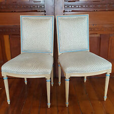 2 Vintage COUNTRY FRENCH Tan/CORNFLWR BLUE Chairs POLKA-DOTS See Delivery Option