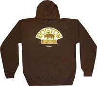 Boston Bruins Vintage Reebok Brown Hooded Sweatshirt Clearance $50