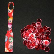 BINGO PAPER Cards Red DESIGNER Magnetic Wand with 100 Red Chips Free Ship