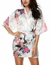 Women's Kimono Robe Bathrobe with Peacock and Blossoms Patterns, Short Style,M