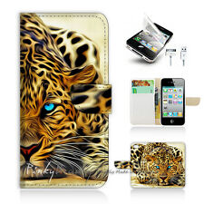 ( For iPhone 4 / 4S ) Wallet Case Cover! Blue Eye Leopard P0354