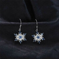 925 Silver Aquamarine Snowflake Earrings Drop Dangle Earrings Christmas Earrings