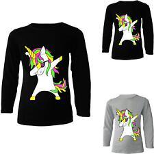 Girls Unicorn Top Kids Long Sleeve Black Grey T shirt Jumper Ages 2 - 13 Years .