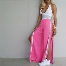 Women's Split Side Buttons Wide Leg Jogger Pants Sexy Loose Casual Trousers S-XL