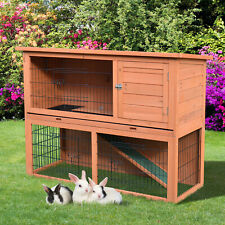 """48"""" Rabbit Hutch Bunny Cage Small Animal House w/ Outdoor Run Patio Wooden w/"""