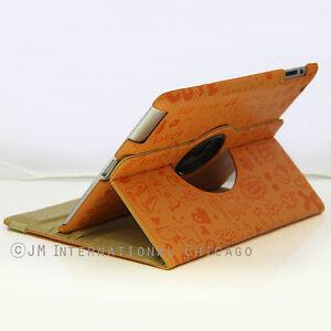 iPad 4 4G 2 3 360 Swirl Cute Cartoon Embossed Leather Case Smart Cover Orange