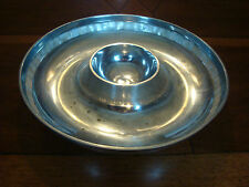 TOWLE Silversmiths Bowl Tray Chip and Dip platter plate w Mother of Pearl inlay