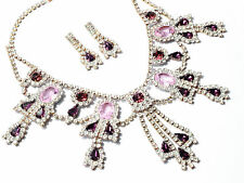 Vintage Czech necklace earring set pink purple clear glass rhinestone jewels