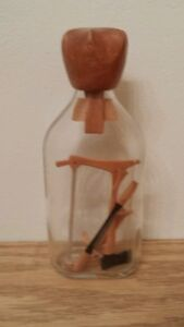 Folk Art Puzzle Bottle Whimsy with Handmade Miniature Tools