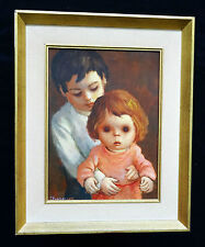 "1960s CALIFORNIA OIL PAINTING ""BROTHER & LITTLE SISTER"" by HAROLD C. STEPHENSON"