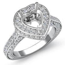 Diamond Engagement Filigree Ring Heart Semi Mount Halo Pave Set 14k W Gold 1.6Ct