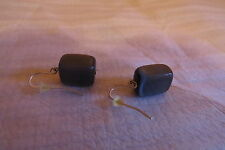 """Preowned Charcoal Stone Silver Plated Earrings Stone .5"""" X .5"""" Earrings 1.25"""""""