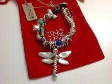 """NWT Uno de 50 Silvertone Bracelet/Bent Coins/Mult Color Beads """"Pim"""" 145.00"""