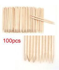 100Pcs Nail Art Cuticle Pusher Remover Pedicure Manicure Orange Wood Stick Tool
