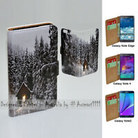 For Samsung Galaxy Note Series Snow Forest Print Wallet Mobile Phone Case Cover
