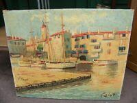 Huile sur Toile Port de Saint Tropez par Calot Années 50