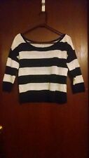 Aeropostale Blue White Mesh Striped 3/4 Sleeve M Crop Top Cropped Sweater