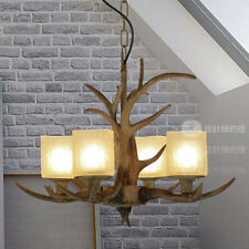 Vintage Style Resin Antler Chandelier Frosted Glass Natural Finish Ceiling Light
