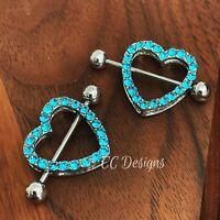 Pair Of 14g Blue Bead Turtle Beach Nipple Shield Ring #418