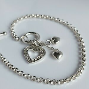 "Beautiful Sterling Silver & Simulated Diamond Heart Toggle Link Bracelet 7.5"""