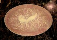 GENUINE INCOLAY STONE LARGE JEWELRY TRINKET BOX W/ HAND CARVED BIRDS OF PARADISE