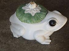 Grosse grenouille en céramique coffre de rangement déco vintage salon sdb