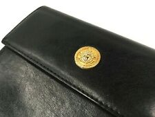 GIANNI VERSACE VINTAGE '90 GOLD MEDUSA COIN LEATHER WALLET TRIFOLD PURSE ITALY