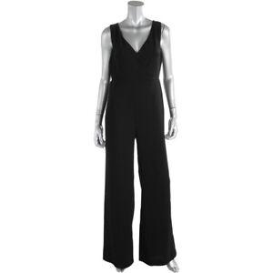Lauren Ralph Lauren Jumpsuit Black Crepe V-Neck Sleeveless  AU10 US6