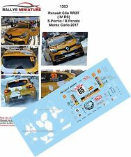 Decals 1/43 réf 1503 Renault Clio R3T ( IV RS)  S.Pernia Monte Carlo 2017