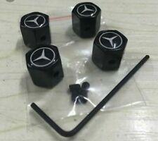 Tapones de válvula, negro antirrobo,  logo Mercedes, tapon valvula rueda