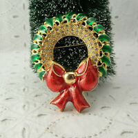 Large Vintage Red Green Enamel Rhinestone Christmas Wreath Pin Brooch