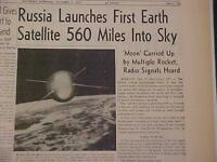 VINTAGE NEWSPAPER HEADLINE ~RUSSIA LAUNCH SPACESHIP EARTH SATELLITE SPUTNIK 1957