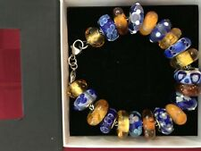 "002 TROLLBEADS BRACELET Blue and Gold Theme, 21 Beads, 7.9"" Bracelet (w/Clasp)"