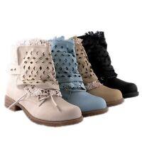 New Damen Schaft mit Lochmuster Spitze Stiefeletten Boots Gr. 36-41 808897