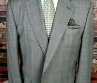 HICKEY FREEMAN Gray Red Glen Plaid Sport Coat All Wool Two Button 46 LONG USA