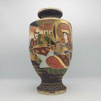 Very Large Signed Vintage Japanese Satsuma Vase w/ Man & Woman