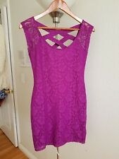 Magenta Pink Purple Pencil Dress Lace Flowery Design Criss Cross Back Size M