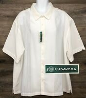 NWT Cubavera Men's White Striped Short Sleeve Button Front Casual Shirt NEW 4X