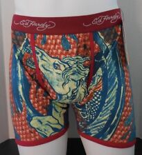 Ed Hardy Men's Dead Or Alive Horse Boxer Briefs Color Red Size Large New