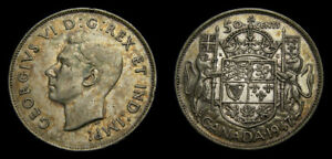 Canada 1947 50 Cents CR7 King George VI Toned VF-30