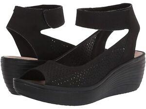 BNIB Clarks Ladies Reedly Jump Black Leather Wedged Sandals