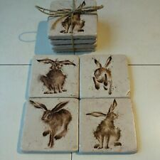 "Gift Set - 4 Handmade MARBLE Heavy Stone COASTERS Decoupaged""Hair-Brained"" Hares"