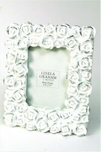 Photo Picture Frame White and silver Roses design Landscape Or Portrait 2.5x 3.5