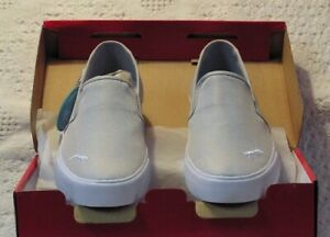 Women's New Puma Slip-On Shoes Size 8, Canvas Upper With Rubber Soles, Silver