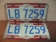 1776-1976 ILLINOIS LB7259 LICENSE PLATES MATCHING PAIR MAN CAVE WALL CHEVY FORD