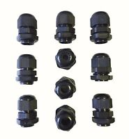 IP68 BLACK CABLE GLAND NYLON WITH NUT PG7 PG9 PG11 PG13.5 PG16 PG19 PG21 PG29