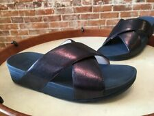 FitFlop Navy Blue Lulu Cross Glitz Slide Comfort Sandal 8 39 SALE
